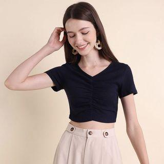 Neonmello Bambi Ribbed Ruched Top in Navy (S) BNWT