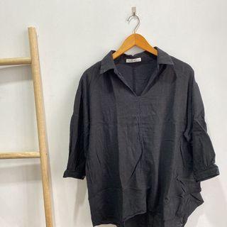 oversized blouse hitam