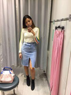 Topshop Mid-length Distressed Denim Skirt - US Size 4