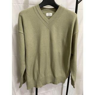 韓國灰綠V領針織毛衣