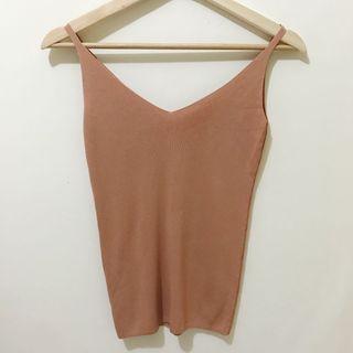 粉橘色V領細肩針織背心