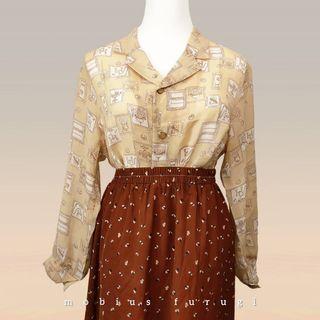 Y0215 輕薄 長袖 襯衫 復古 歐式插畫 古著