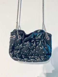 Zara black Cross Body Studded Bag
