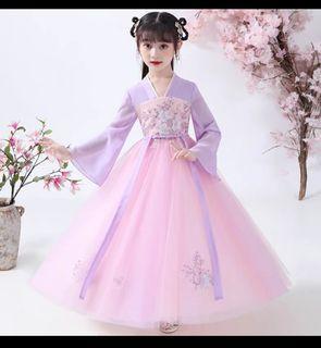 兒童漢服超仙中國風120cm長袖雪紡洋裝唐裝萬聖節必備