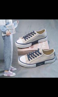 女鞋#平底鞋#蒼卡藍帆布鞋#韓版透氣休閒餅乾鞋