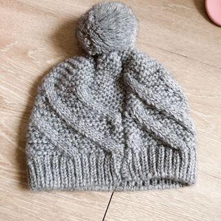 全新!灰色球球針織毛帽,土耳其製