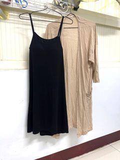 可調式細肩帶bra洋裝/防曬開衩罩衫