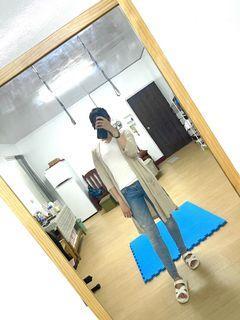 Zara修身牛仔褲/uq V領白上衣/GU罩衫外套