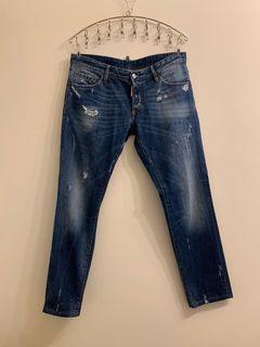 Dsquared 挖洞 縫補 潑漆 低腰 牛仔褲 50號 #618