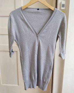 Grey Simple Knitted Cardigan
