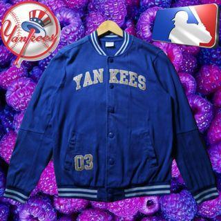MLB NY NEW YORK YANKEES PURPLE VARSITY FULL SNAP BASEBALL JACKET ORIGINAL AUTHENTIC
