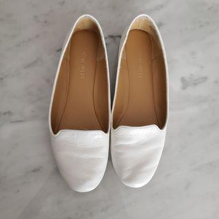 Nine West White Leather Flats