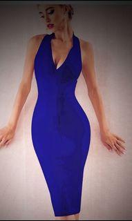 Royal blue halter  bandage dress large