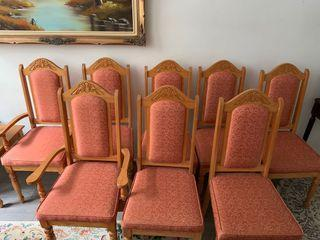 Set of 8 Wood Dining Chairs