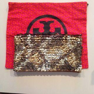 Tory Burch Fish Scale Mixed Metal Foldover Clutch on Sale!