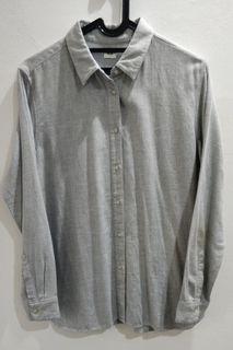UNIQLO Blus Rayon Lengan Panjang (Grey)