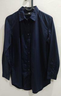 UNIQLO Cotton Shirt (Navy)/Kemeja Katun