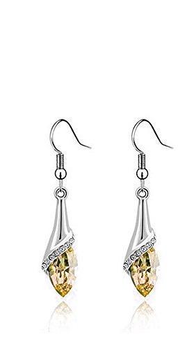 18K White Gold Plated Swarovski Elements Earrings (Amber)