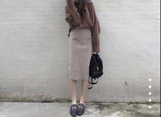 (畢業搬家出清 6 /6全部都會丟掉)Aachic 灰杏色毛呢裙