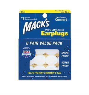 美國 Mack's Silicone Earplugs Macks White 白色 Adult 成人用 矽膠耳塞 可塑型可再用安全無害 搭飛機游水等可用 Mack