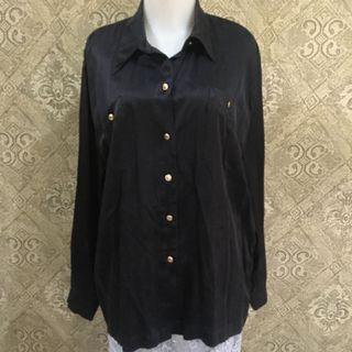Baju kemeja tangan panjang wanita warna hitam