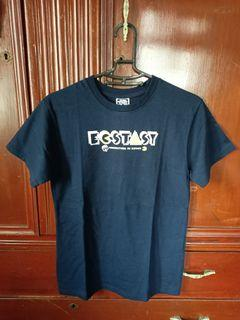 ECSTASY 深藍色英文字短袖上衣 m號