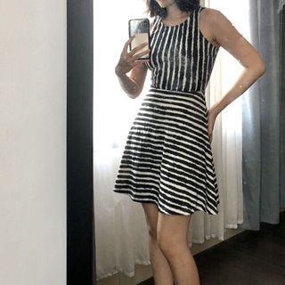 H&M Black and White Stripes a-line Dress