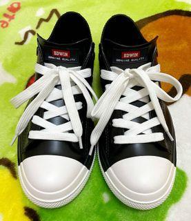 🉐出清🎌JP 日本 EDWIN 古著 日系 黑色 低筒 橡膠鞋 雨鞋 帆布鞋 L