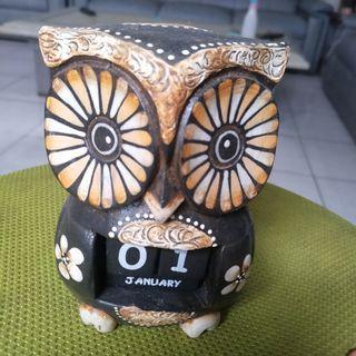 Kalender Kayu Handmade Wooden Calendar Owl Burung Hantu Dekorasi Rumah Ruang Decoration Home