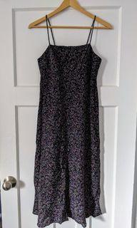 Square neck floral maxi dress