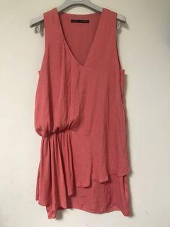 Zara 珊瑚粉紅 垂墜式 無袖洋裝