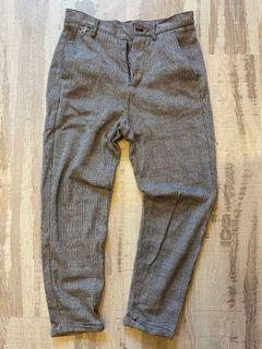Zara man 毛料西裝紳士九分反折褲