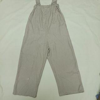 長裆吊帶闊腿褲