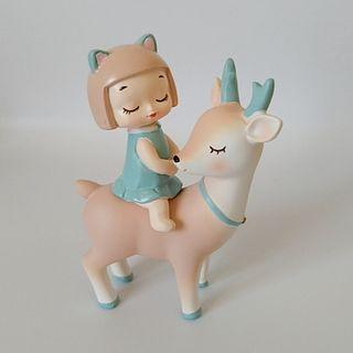 北歐風創意玄關裝飾品小擺件少女心臥室-小鹿女孩