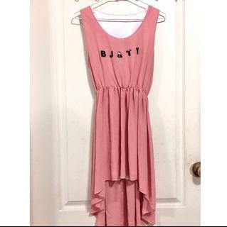 前短後長粉色洋裝 粉色無袖洋裝 粉色洋裝 前短後長洋裝