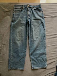 無印良品靛藍色寬擺褲 男M號