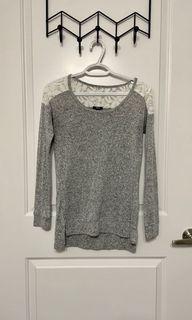 ARDENE Grey Long Sleeve with Lace
