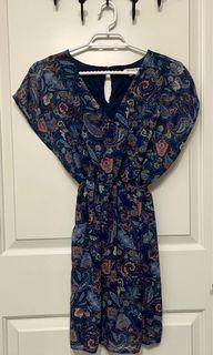 ARDENE Navy Bohemian Paisley Chiffon Dress