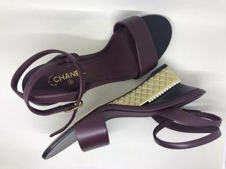 Authentic Chanel Burgundy Leather Wedges