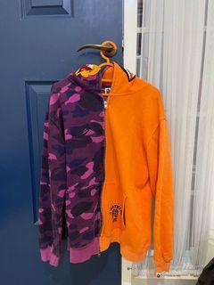 Bape color camo tiger shark half full zip hoodie