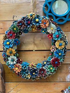 Handcrafted pine cone flower wreaths