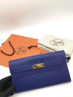 Hermes Kelly Wallet 7T電光藍