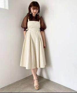 日牌MAJESTIC LEGON 高腰釦環打褶吊帶裙 洋裝