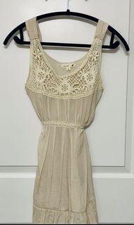 mine Beige Cotton Mini Dress With Lace