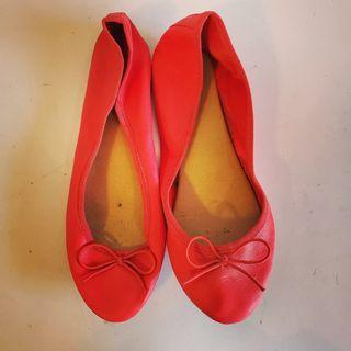 Red Ballerina Flats