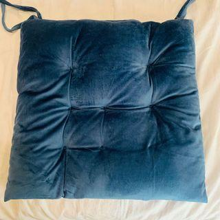 Velvety Regal Blue Seat Cushion / Chair Pillow with Ties