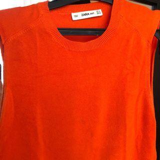 Zara Orange Knit Tank Top (Rajut)