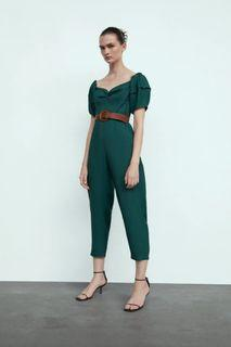 Zara puff sleeved belted jumpsuit