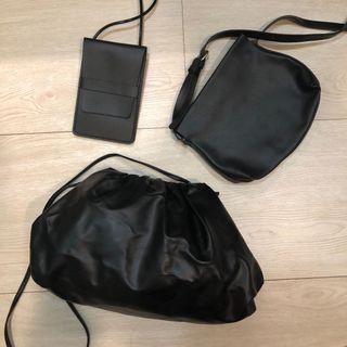 黑色斜背包/雲朵包/手機包三入免費送