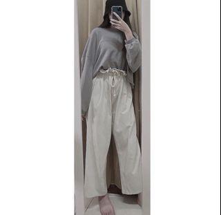 韓 花苞綁帶奶油白棉麻微直筒寬褲